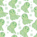 Cute happy jellyfish cartoon character seamless pattern sea animal vector illustration. Nature animal aquatic medusa Royalty Free Stock Photos
