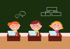 Cute happy kids in classroom with Laptop. Geek boy and two happy girls on computer lesson in shool. Vector Illustration stock illustration
