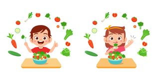 Free Cute Happy Kids Eat Salad Vegetable Fruits Stock Photo - 160885660