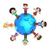 Cute happy kids over earth planet Royalty Free Stock Photo