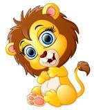Cute happy lion cartoon Stock Images
