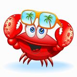 Crab with Sunglasses Happy Cartoon Character Vector Illustration royalty free stock photography