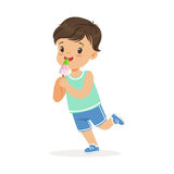 Cute happy little boy character eating ice cream cartoon vector Illustration. On a white background Royalty Free Stock Photos