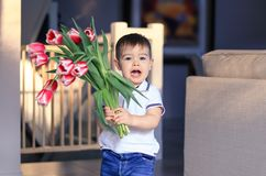 Cute happy little boy holding bouquet of red tulips in his hands greeting mother or sister or grandmother at home. Mothers or Vale royalty free stock images