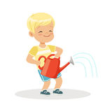 Cute happy little boy standing with a red watering can cartoon vector Illustration. On a white background stock illustration
