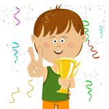 Cute happy little boy wearing sports wear holding a gold cup trophy showing victory sign. On white Royalty Free Stock Images
