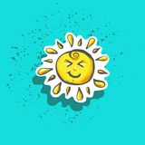 Cute happy little childish sun sticker fashion patch badge or print Stock Images