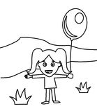 Cute happy little girl with a balloon coloring page. Hand drawn cute happy little girl with a balloon coloring page for kids Stock Images