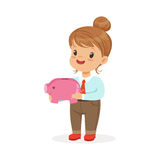 Cute happy little girl businesswoman holding a piggy bank, kids savings and finance vector Illustration. Isolated on a white background Stock Image