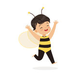 Cute happy little girl dressed as a bee, kids carnival costume vector Illustration. Isolated on a white background stock illustration