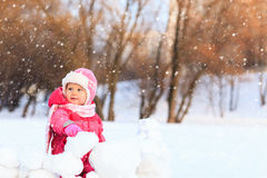 Cute happy little girl play in winter Royalty Free Stock Photography