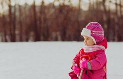 Cute happy little girl play in winter Stock Photo