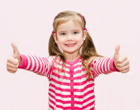 Cute Happy Little Girl With Thumbs Up Royalty Free Stock Photos