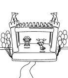 Cute happy little girls in a castle coloring page. Hand drawn cute happy little girls in a castle with a balloon coloring page for kids Stock Images