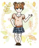 Cute happy little red-haired girl posing on background of autumn. Landscape and wearing fashionable casual clothes. Vector character Stock Images