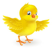 Cute happy little yellow Easter chick Stock Photos
