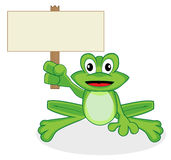 Cute Happy Looking Tiny Green Frog Holding Up A Bl Stock Image