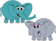 Cute Happy Male Female Elephant  Cartoon Royalty Free Stock Photography