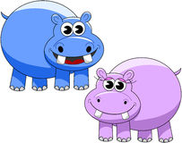 Cute Happy Male Female Hippopotamus Cartoon Royalty Free Stock Photos