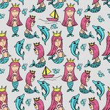 Cute happy mermaid seamless pattern stock illustration