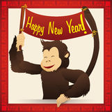 Cute Happy Monkey Holding a Happy New Year Sign, Vector Illustration royalty free stock images