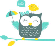 Cute happy owl and singing canary Royalty Free Stock Photo