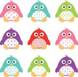 Cute Happy Patterned Penguins Set. A collection of nine happy, fat, cartoon, vector penguins. These cute little guys can be used for a variety of projects. The Royalty Free Stock Photo