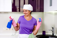 Cute happy playful housewife Stock Image