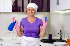 Cute happy playful housewife Stock Images