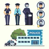 Cute happy police woman agents working in uniform Vector officer with car and station in flat style flat  set Royalty Free Stock Images