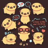 Cute happy pug little dog set of elements, happy funny animal, childish collection, vector illustration. Design vector illustration