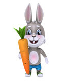 Cute happy rabbit holding а carrot. 3D illustration. Isolated on white Royalty Free Stock Photos