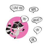 Cute happy raccoon character with word Yay in speech bubble Royalty Free Stock Images