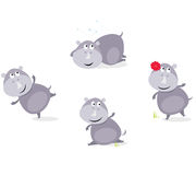 Cute happy Rhinoceros in four poses Stock Photo