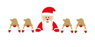 Cute happy santa claus with his gnomes white banner stock illustration