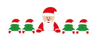 Cute happy santa claus with little christmas trees royalty free illustration
