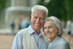 Cute happy senior couple outdoors Stock Photography
