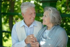 Cute happy senior couple outdoors Royalty Free Stock Images