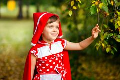 Cute seven years old girl in autumn outdoors royalty free stock images