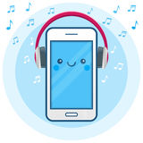 Cute happy smartphone icon with big pink headphones and musical signs. Online radio, music streaming app. Internet broadcasting services. Modern blue vector royalty free illustration