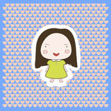 Cute Happy Smiling Cartoon Baby Girl. Cartoon drawing illustration on hearts background Stock Photography