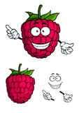 Cute happy smiling cartoon raspberry fruit Royalty Free Stock Image
