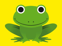 Cute happy smiling green frog Stock Images