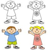 Cute Happy Smiling Kids stock illustration