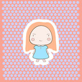 Cute Happy Smiling Peach Hair Cartoon Baby Girl. Cartoon style drawing on doted background Stock Photos