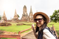 Cute happy smiling tourist girl,relaxing enjoying travelling royalty free stock images