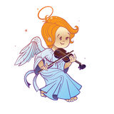 Cute happy smilingy Christmas  bab angel playing violin Stock Photo