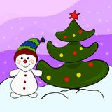 Cute happy snowman and Christmas tree.  Royalty Free Stock Images
