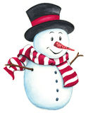 Cute, happy snowman isolated on white background. Royalty Free Stock Photos