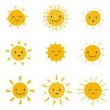 Cute happy sun with smiley face. Summer sunshine vector set isolated. Face smile sun, cartoon yellow shine illustration stock illustration